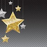 Blänka bakgrund med hängande stjärnor för silver och för guld royaltyfri illustrationer