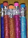 Blänka blyertspennor med radergummit Royaltyfria Foton