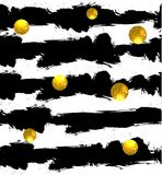 Blänka cirklar på bakgrund guld- bollar seamless vektor för modell svarta band stock illustrationer
