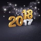 Blänka det guld- datumsymbolet 2018 för hälsningkort Stock Illustrationer