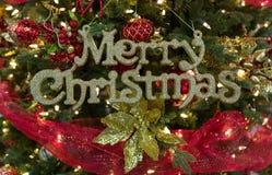 Blänka glad jul undertecknar in trädet Royaltyfri Bild