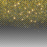 Blänka guld- effekt för partikelljussken på genomskinlig vektorbakgrund stock illustrationer
