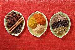 blänka kryddor tre för form för leafplattor röda Arkivbild