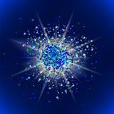Blänka partikelmodellen Stjärnadamm stock illustrationer