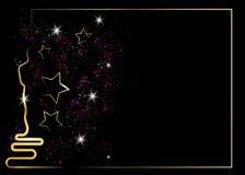 Blänka svart bakgrund med den guld- statykonturn Oscarsymbol i plan stil Guld- konturstatysymbol filmer vektor illustrationer