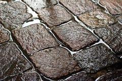 Blänka våt kullersten efter regn Fotografering för Bildbyråer