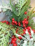 Blänker dekorativ utsmyckad gran för jul naturliga gåvor arkivbilder
