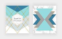 Blänker den geometriska designen för mode med blå grå triangulär form och guld- linjer på marmorerar textur Moderiktig bakgrund f stock illustrationer