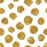 Blänker den sömlösa modellen för prickar med guld- textur Royaltyfria Bilder