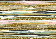 Blänker den sömlösa modellen för vektorn med guld texturerade borsteslaglängder och band Royaltyfri Fotografi