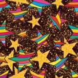 Blänker färgrikt guld- för stjärna runt om sömlös modell vektor illustrationer