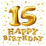 Blänker 15th födelsedagberöm för vektorn med guldballonger och färgrika konfettier, design för illustration 3d för ditt hälsningk Arkivfoton