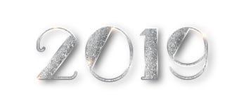 2019 blänker typografidesign Mousserande nummerdesign för silver av det hälsa kortet av designen för lyckligt nytt år silver stock illustrationer