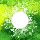 Blätter auf Aquarellhintergrund Stockfoto