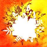 Blätter auf Aquarellhintergrund Lizenzfreies Stockfoto