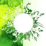 Blätter auf Aquarellhintergrund Lizenzfreie Stockfotos