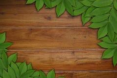 Blätter auf hölzernem Hintergrund, Blattrahmen Stockfoto