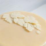 Blätter der weißen weißen Schokolade auf dem Kuchen stockbilder