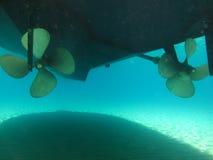 Blätter eines Motordrehzahlbootsrotors, Rückseite Stockfoto