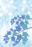 Blätter eines Tages des verschneiten Winters - grafische Malereibeschaffenheit Stockfotos