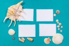 Blätter Papier mit Shells Stockfotos