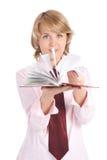Blätter treibenbuch der Geschäftsfrau Stockbilder