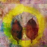 Blätter und gelbes Enso Stockbilder