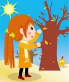 Blätter und Mädchen Stockbilder