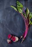 Blätter und Rote-Bete-Wurzeln der roten Rübe Stockfoto