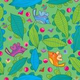 Blätter wickelten Vogel Seamless_eps ein Lizenzfreie Stockbilder