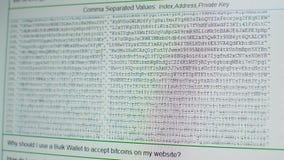Blättern durch tousands von erzeugten Bitcoin-adresses, privaten und allgemeinen Schlüsseln stock video footage