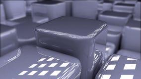 Bläuliche Würfel des modernen abstrakten Hintergrundes, Hintergrund von glatten glänzenden Blöcken 3d, Kasten, 3d übertragen Stockfotos