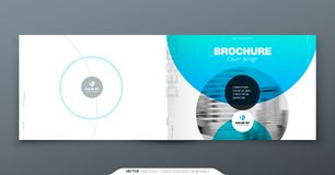 Blå årsrapportdesign Horisontalräkningsmall för broschyren, rapport, katalog, tidskrift Orientering med lutning vektor illustrationer