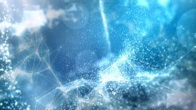 Blå ögla för bakgrund för Plexuspartiklar 4K lager videofilmer