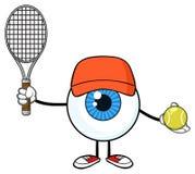 Blå ögonglob Guy Cartoon Mascot Character Holding en tennisboll och racket stock illustrationer