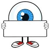 Blå ögonglob Guy Cartoon Mascot Character Holding ett tomt tecken vektor illustrationer