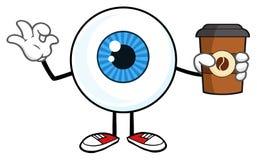 Blå ögonglob Guy Cartoon Mascot Character Holding per för ta koppen ut och göra en gest Ok vektor illustrationer