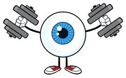 Blå ögonglob Guy Cartoon Mascot Character Working ut med hantlar stock illustrationer