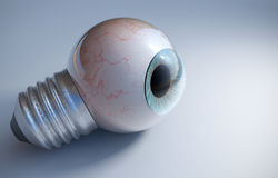 Blå ögonglob i en skruv för ljus kula Royaltyfria Bilder