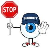 Blå ögonglobGuy Cartoon Mascot Character Security vakt Gesturing And Holding ett stopptecken royaltyfri illustrationer