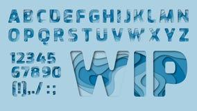 Blå abstrakt alfabetstencil royaltyfri illustrationer