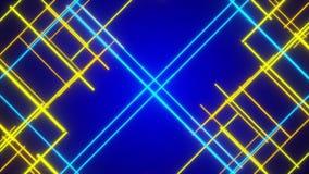 Blå abstrakt bakgrund, flyttande blått och guld- linje vektor illustrationer