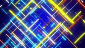 Blå abstrakt bakgrund, flyttande blått och guld- linje royaltyfri illustrationer