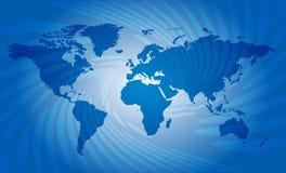 Blå abstrakt bakgrund med översikten av världen Royaltyfri Bild