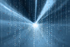 Blå abstrakt ljus binär nummerbakgrund Arkivfoto