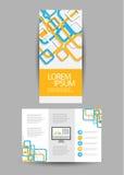 Blå abstrakt orienteringsmall med fyrkanter Fotografering för Bildbyråer