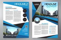 Blå abstrakt orienteringsmall med fyrkanter Content vektorbakgrund för presentation Mall för broschyrer a4 Räkningsbu Royaltyfri Fotografi