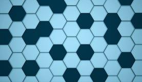 Blå abstrakt sexhörnig cellbakgrund Arkivbild