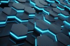 Blå abstrakt sexhörnig glödande bakgrund, futuristiskt begrepp framförande 3d Royaltyfri Fotografi
