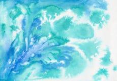 Blå abstrakt vattenfärgmålning vektor illustrationer